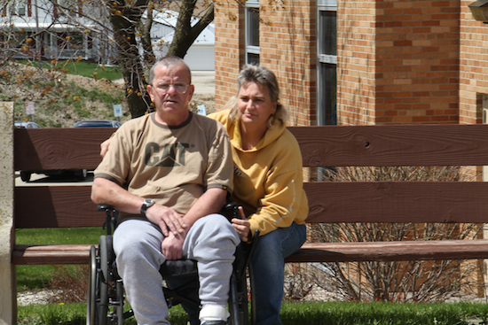 Mike with his wife, his brain injury caregiver, at Clearview Treatment Center.